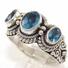 Suarti Sterling Silver Blue Topaz Three Stone Past Present Future Ring Size 9