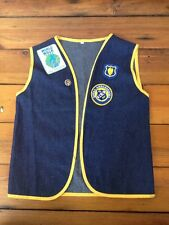 Vintage Royal Ambassadors Christian Dark Denim Jean Vest Embroiderd Patches S
