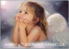 Angel Girl Baby Wings Heaven Birthday Card A5 Personalised with any wording