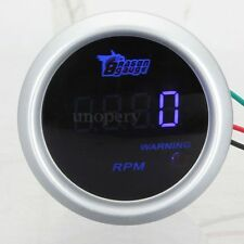 Universal 2'' 52mm 12V Digital Blue LED Tacho Tachometer Gauge 0-9999 RPM Car