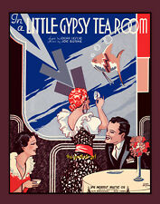 LITTLE GYPSY TEA ROOM 8x10 vintage sheet music cover Art Deco gipsy print