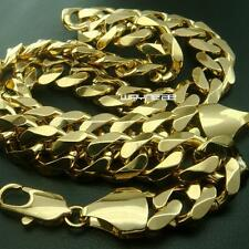 """818K Yellow Gold Filled Mens Necklace Solid Cuban Curb Chain 23.6"""" 15mm (n276)"""