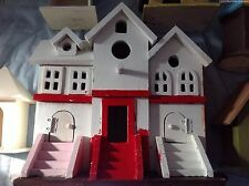 Wood Decorative Three Apartment Townhouse Birdhouse,  6 small bird houses