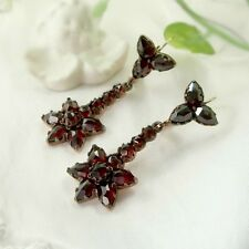 Vintage garnet star earrings w/14ct gold wires Victorian style ||  ГРАНАТ