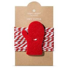 New !  Sugar Paper Felt Mitten Tie On Gift Topper Red and White color