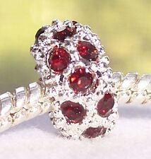 January Birthstone Dark Red Rhinestone Ring Bead for European Charm Bracelets