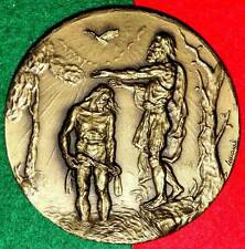 RELIGIOUS / BAPTISM OF JESUS CHRIST LARGE BRONZE MEDAL BY AMARAL