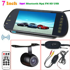 "7"" HD Bluetooth MP5 Car Rearview Mirror Monitor +Wireless Reverse Backup Camera"