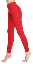 Deluxe Ruby Red Quality Cotton Legging Ladies Full Length Leggings Small 8-10