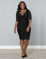 LADIES WOMAN'S PLUS SIZE LACE 3/4 LENGTH SLEEVED BLACK PARTY/EVENING DRESS 18/20
