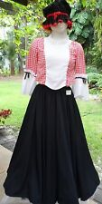 18th-19th Cent EarlyAmerican Costume w/Cap,Full Skirt, Red/Wht Checkered Top 35b