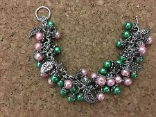 Alpha Green Ivy and Pink Charm Bracelet Kappa With Leaf Charms