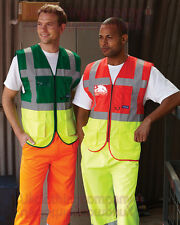 Hi VIS EXECUTIVE 2 TONE SAFETY VEST WAISTCOAT ID & PHONE POCKET UNISEX S TO 3XL