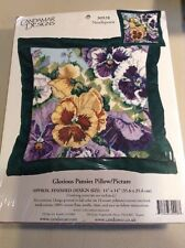 """Clearance. Candamar Designs Needlepoint Kit Floral """"Glorious Pansies"""" 14"""" Pillow"""