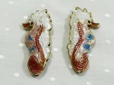 PACK OF 2 VERY PRETTY CLOISONNE ENAMEL BEADS OF A SEAHORSE - 25mm........B1793 *