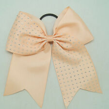 Rhinestone Bling 8 Inch Cheer Hair Bow with Elastic Band Cheerleading CB012