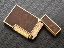 Mega Rare Vintage ST DUPONT largeLine2 Real Wood Gold pl LighterBriquetFeuerzeug
