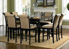 """9 PC Cabrillo Elegant Formal Counter Height Dining Table 1 18"""" Leaf Fabric Chair"""