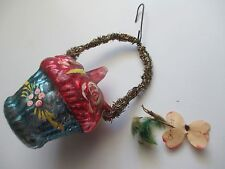 Antique GERMAN Glass FLOWER BASKET Ornament TINSEL Feather Hand Painted