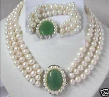 Charming white pearl jade clasp necklace bracelet