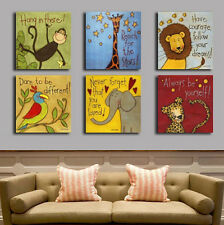 6 panels children painting for kids animals printed on canvas wall art no frame