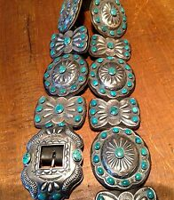 "Navajo""KIRK SMITH"" Lone Mnt.Turquoise 925 COLLECTOR'S  Concho Belt."