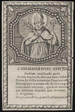 santino incisione 1600 S.GERMANO V. DI AUXERRE