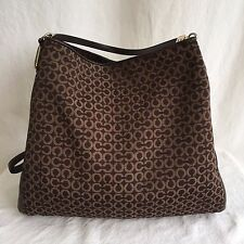 COACH Madison Signature Needlepoint & Leather Phoebe Bag Brown Purse Tote 26281