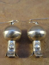Sterling Silver Navajo Stamped Squash Blossom Earrings