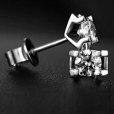 HOT Fashion Women Men Silver Zircon Crystal Ear Studs Earrings Beauty Gift