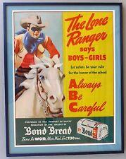 1939 LONE RANGER BOND BREAD, WOR Radio, PAPER SIGN, RARE!  Framed.