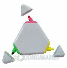 2x 3 in 1 3 Colour Triangle Highlighter Pen. Neon Yellow, Pink, Green. Revision