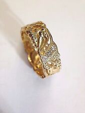 Unique! 18K Yellow Gold 1930's Deco Love Bird Eternity Band with Diamonds Size 7