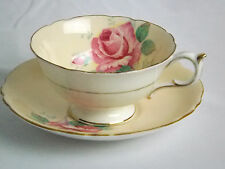 Paragon Large Rose on Peach Background Gold Trim Tea Cup & Saucer