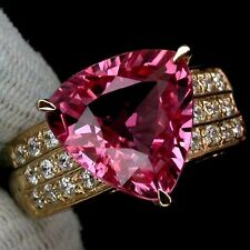 _LDN_  Bague Saphirs Padparadscha 11mm_Argent 925 + plaque or 14ct _T 53