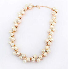 NEW Fashion Jewelry Pendant Crystal Chain Chunky Statement Pearl Bib Necklace