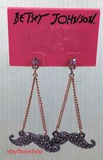 Betsey Johnson Earrings Ballerina Mustache Drop Dangle Black Crystal Pave NEW