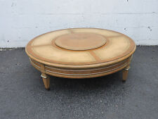Weiman Round Turntable Leather Top Painted Coffee Table 1951