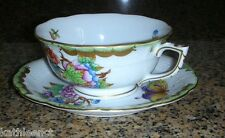 Herend QUEEN VICTORIA Green Border 734 Footed Cup & Saucer Set