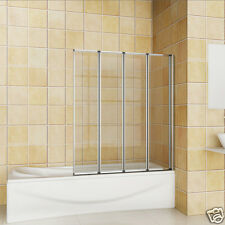 800x1400 4 Folding Chrome Shower Bath Screen glass NEXT DAY DELIVERY A8