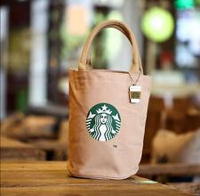 Starbucks Canvas Tote Bag Handbag Barrel Shape Shoulder ECO Shopping Lunch Bag