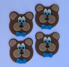 12 edible TEDDY BEAR FACES cake topper CUPCAKE DECORATIONS picnic baby shower