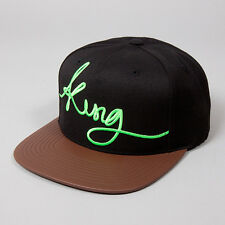 King Signature Pinch Panel Black Brown Leather Peak Snapback Hat Cap
