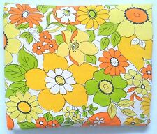 Vtg WABASSO Double Fitted Bedsheet Flower Power Yellow Orange Green Nice Bright!