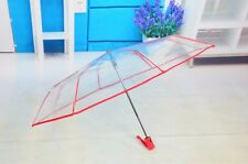 Women's Transparent Folding Umbrella Clear Compact Automatic Wind-proof Umbrella