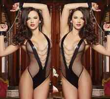 Women's Lingerie Dress Underwear Black Handcuff Babydoll Sleepwear G-string SET