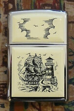 NOVELTY SCRIMSHAW SHIP ZIPPO LIGHTER FREE P&P FREE FLINTS