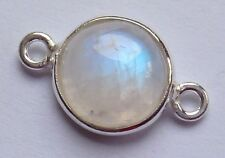 Rainbow Moonstone and Sterling Silver Small Coin Shaped Smooth Beads Connector