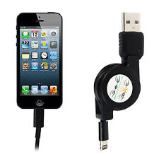 Black Retractable 8Pin USB Sync Data Charging Cable for iPhone 5 iPod Touch 5
