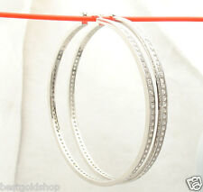 "2 3/4"" 70mm  Diamonique CZ Large Hoop Earrings Real 925 Sterling Silver"